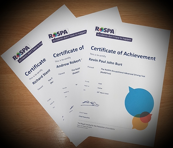 RoSPA Advanced Driving Certificates