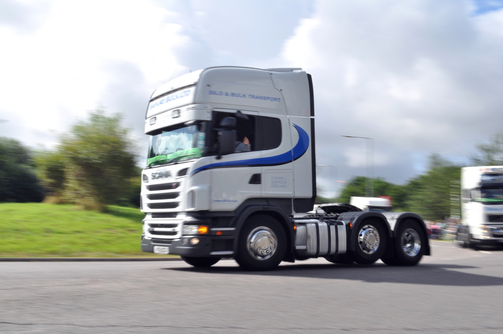 A white HGV truck with no trailer