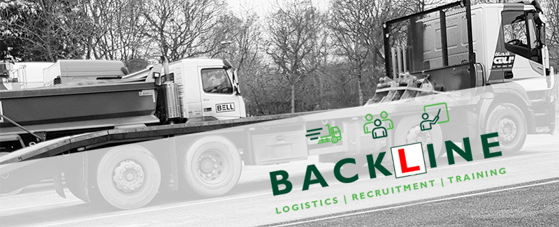picture of lorries parked at a service station overlaid with the Backline logo with the L in the design of a learner driver plate